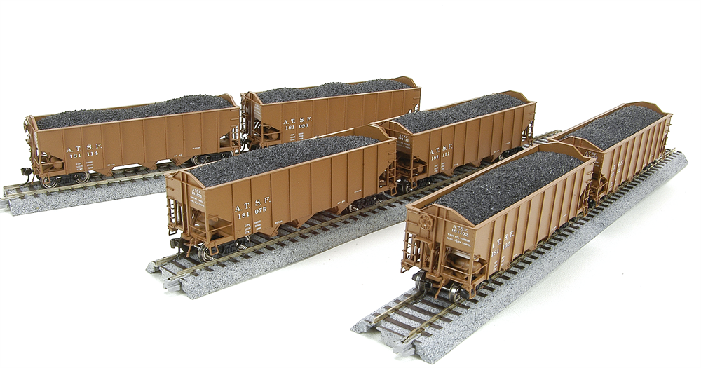 1734 3-Bay Hopper, ATSF, Freight Car Brown, 6-pack, HO
