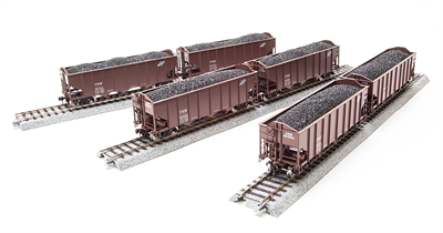 BWL1735 3-Bay Hopper, C&NW, Oxide Red, 6-pack, HO SCALE