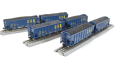 BWL 1737 3-Bay Hopper, CSX, Blue w/ Yellow Lettering, 6-pack, HO