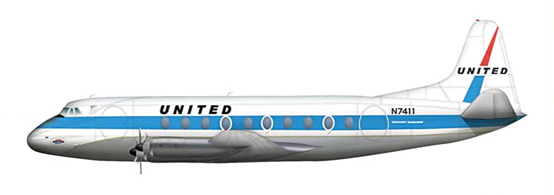 HL3008 Vickers Viscount 700 N7411 United Airlines 1/200