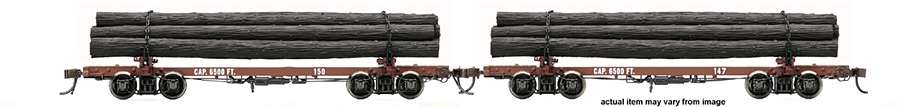 HR 6211 West Side Lumber #147 & 150 Skeleton Log Cars Set HO